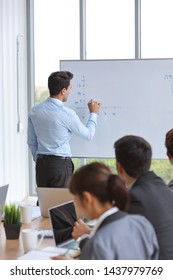 full length of businessman coaching in team meeting or training, speaker drawing graph on white board (business seminar concept)