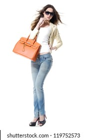 Full length casual fashion women wearing sunglasses with bag posing shot in studio