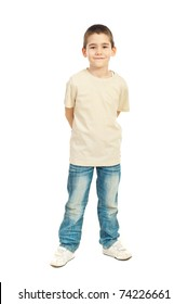 Full length of child boy in blank beige t-shirt isolated on white background