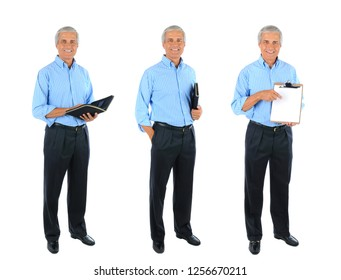 Full length Collage of a Mature Businessman. Three Full length images over a white background.