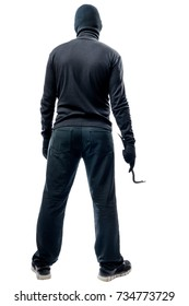 Full length criminal with a crowbar on a white background