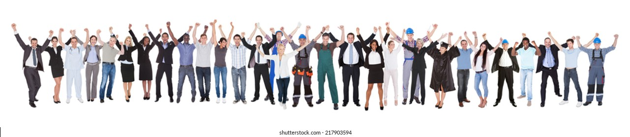 Full length of excited people with different occupations celebrating success over white background