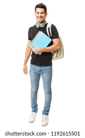 Full length of handsome guy with backpack and university books on white background