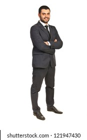 Full length of happy executive male isolated on white background