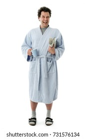 Full Length Happy Man in bathrobe early in the Morning starting his day, Isolated on White Background: Happy with coffee and newspaper