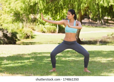 Full length of a healthy young woman standing in fighting stance at the park