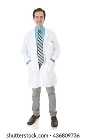 Full length image of a happy face-forward man in a lab coat looking at the viewer.  On a white background.