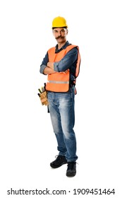 Full length image of a self-confident carpenter with moustache isolated on white background