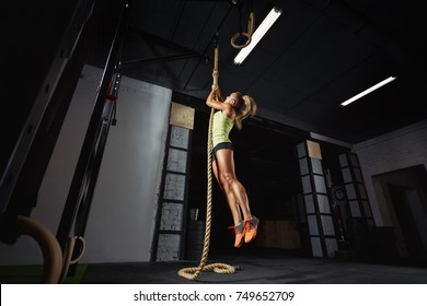 Full length low angle shot of a woman performing rope climbs at the gym copyspace performance agility biceps strong energetic athletics healthy powerful determination concept. Crossfit and fitness