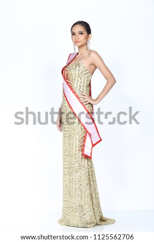 Full Length Miss Pageant Contest Asian Stock Photo Edit Now