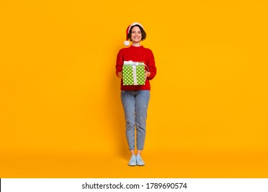 Full length photo of beautiful funny lady winter holidays hold big large giftbox festive party x-mas courier delivery wear santa cap red knitted sweater jeans isolated yellow color background