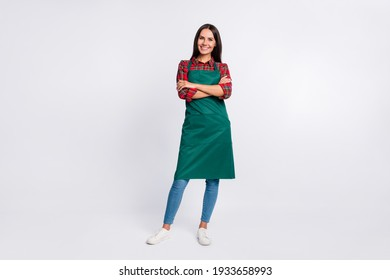Full length photo of charming young lady hands folded wear green apron barista isolated on grey color background