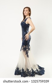 ccb7332eec6 Full length photo fashion model woman wearing elegant evening dress blue  gown posing isolated on white