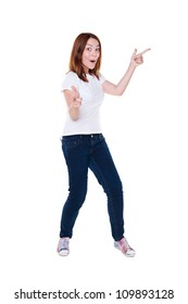 full length photo of jovial young woman over white background
