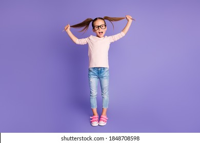 Full length photo of playful small girl hold hands pigtails wear spectacles sweatshirt isolated on violet color background