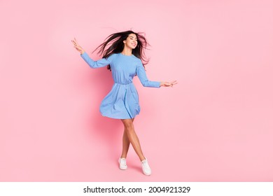 Full length photo of young lovely girl happy positive smile pretty cute elegant isolated over pastel color background