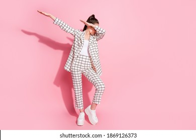 Full length photo of young woman dance make dab move enjoy party isolated over pastel color background