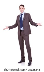 full length picture of an approachable young business man with open arms isolated on white background. businessman welcoming you