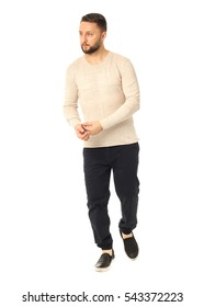 Full length picture of casual young man