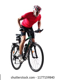Full length picture  of a cyclist riding his mountain bicycle in a white studio