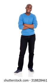 full length portrait of afro american man standing on white