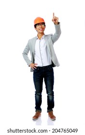 Full length portrait of asian engineer man point up isolated on white background