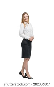 Full length portrait of a beautiful business lady. Isolated.