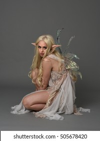 full length portrait of a beautiful fairy girl with  long blonde hair, pointy ears and wings. seated pose against a grey background.