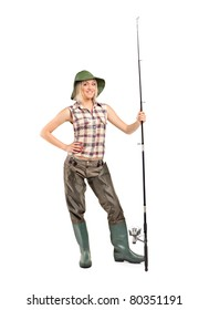 Full length portrait of a blond fisherwoman posing isolated on white background