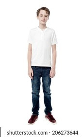 Full length portrait of a boy isolated on white