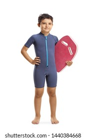 Full length portrait of a boy in a wetsuit holding a swimming float board isolated on white background