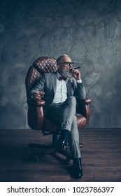 Full length portrait of brutal old man in tux holding glass with whiskey, smoke cigar, looking to the side, sitting in chair, leg on leg, side view, profile face shares, money, stock, gray background