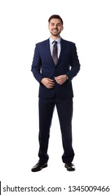 Full length portrait of businessman posing on white background
