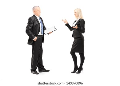 Full length portrait of a businesswoman explaining an idea to her boss isolated on white background