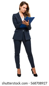 Full length portrait of a businesswoman writing documents