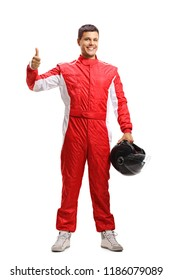 Full length portrait of a car racer in a suit showing thumbs up isolated on white background