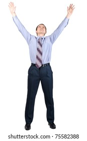 Full length portrait of cheerful businessman with hands raised in victory, over white background