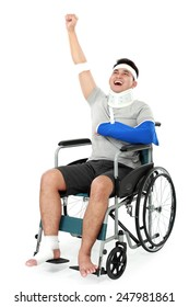 full length portrait of cheerful injured young man raise his hand