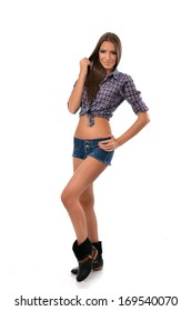 Full length portrait of a country girl isolated on white background