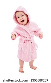 full length portrait of cute baby girl in pink bathrobe after bath isolated on white background