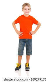 full length portrait of cute boy isolated on white background