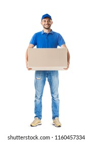 Full length portrait of delivery man holding big parcel box isolated on white background