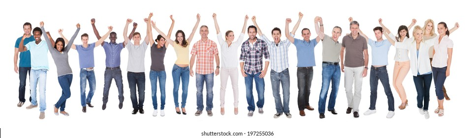Full length portrait of diverse people in casuals celebrating success against white background
