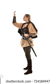 full length portrait of a fantasy medieval warrior, standing pose on white background.