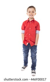 Full length portrait of a fashionable boy over white background