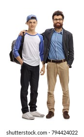 Full length portrait of a father and his teenage son isolated on white background