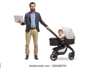 Full length portrait of a father standing with a laptop and a baby in a pushchair isolated on white background