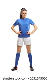 Full length portrait of a female soccer player isolated on white background