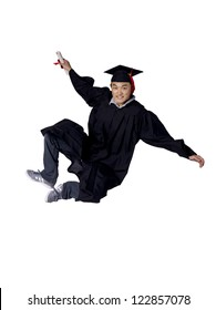 Full length portrait of graduated student jumping while holding his diploma