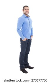 full length portrait of handsome arabic business man in blue shirt isolated on white background
